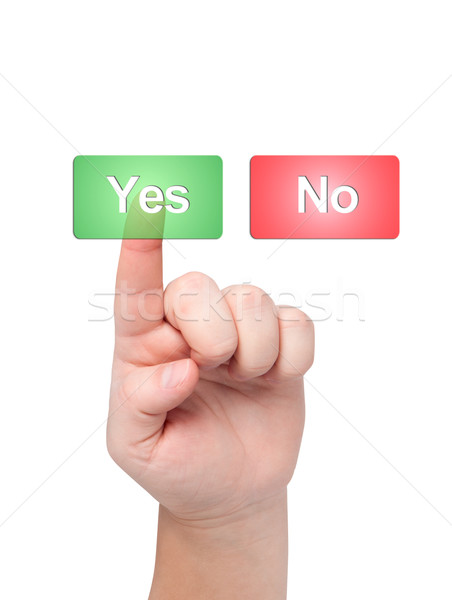 Finger presses button with word yes. Stock photo © borysshevchuk