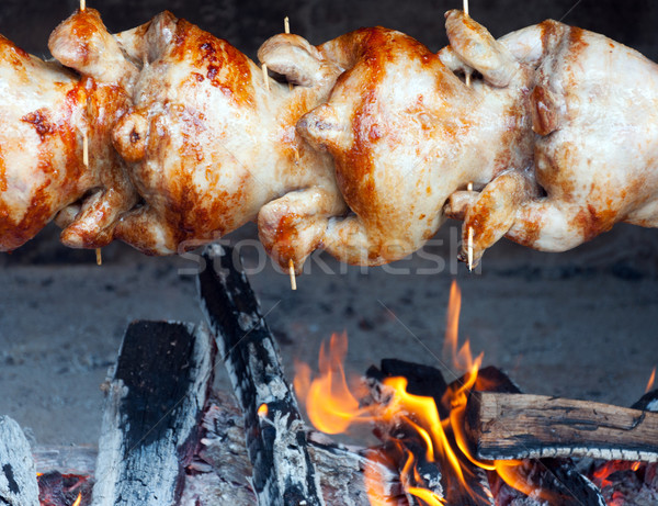 Bereid open vuur voedsel brand vogel vlees Stockfoto © borysshevchuk