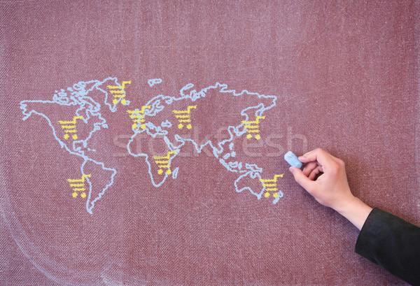 Wereldkaart school Blackboard krijt kaart Stockfoto © borysshevchuk