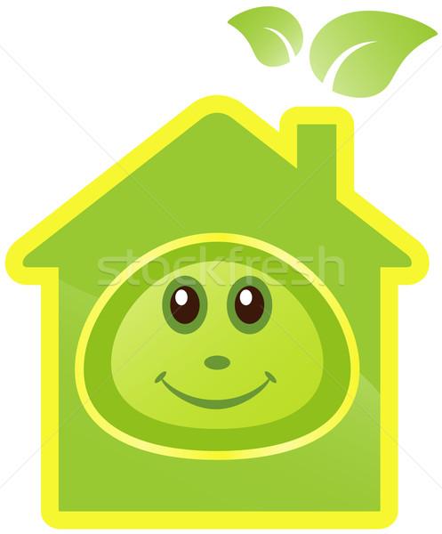 Huis glimlach gezicht groene huizen energie Stockfoto © borysshevchuk