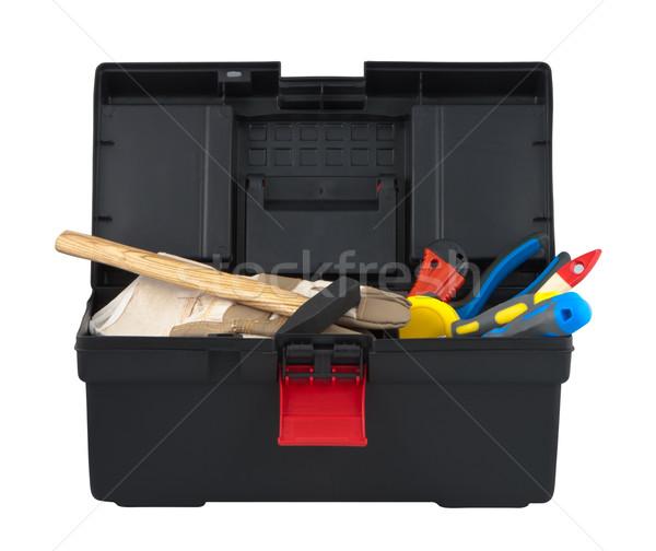 Box with tool on white background Stock photo © borysshevchuk