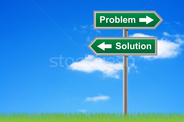 Arrows road sign problem solution on sky background. Stock photo © borysshevchuk