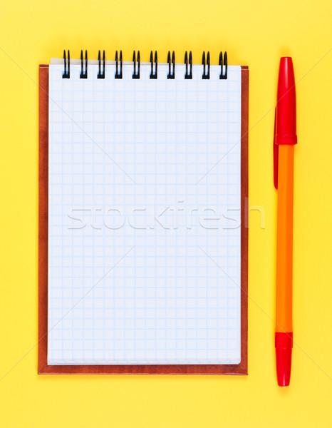 Pocketbook and ballpoint pen on yellow background. Stock photo © borysshevchuk