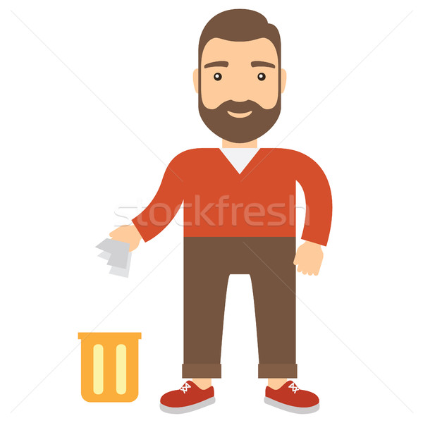 Cartoon man throwing garbage in bin. Stock photo © borysshevchuk