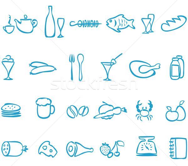 Set vector handwork icons food. Stock photo © borysshevchuk