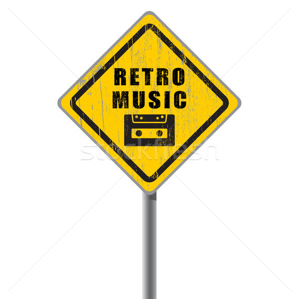 Retro music old scratched road sign. Stock photo © borysshevchuk