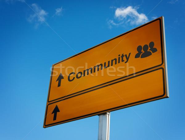 Gemeenschap verkeersbord icon groep mensen ruimte tekst Stockfoto © borysshevchuk