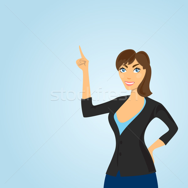 Woman points at a place where it can be placed text or picture. Stock photo © borysshevchuk