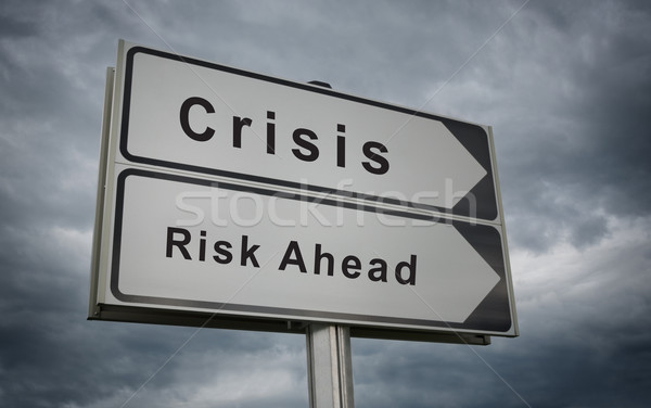 Crisis, Risk Ahead road sign. Stock photo © borysshevchuk