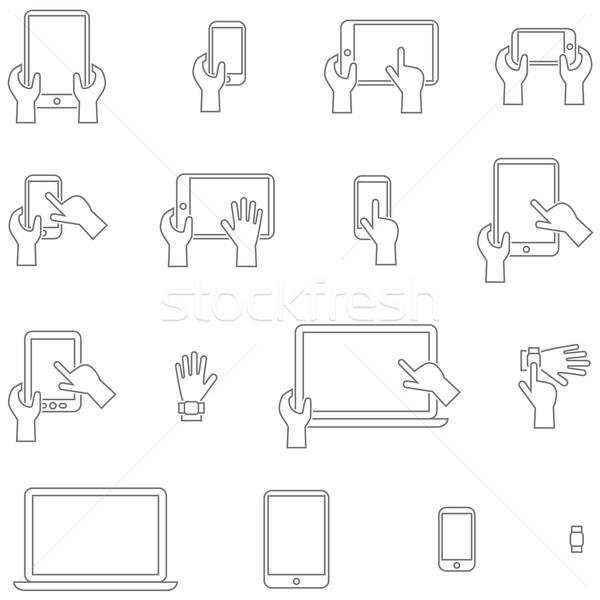 Vetor tela sensível ao toque simples projeto Foto stock © borysshevchuk