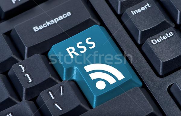 Pulsante rss icona internet comunicazione Foto d'archivio © borysshevchuk