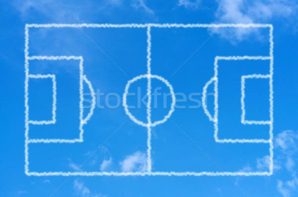 Futballpálya égbolt futball sport mező kék Stock fotó © borysshevchuk