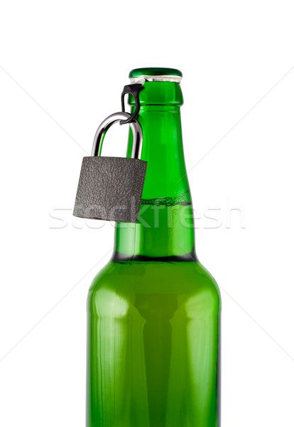 Stock photo: Beer, bottle, padlock isolated white, clipping path.