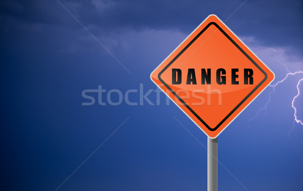 Traffic sign danger clouds lightning. Stock photo © borysshevchuk