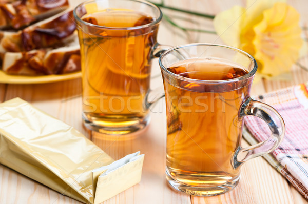 Tea in glass mugs. Stock photo © borysshevchuk
