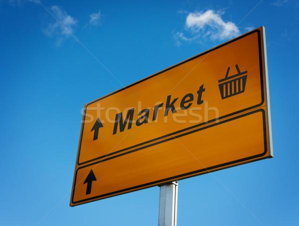 рынке дорожный знак Стрелки корзины корзины нижний Сток-фото © borysshevchuk
