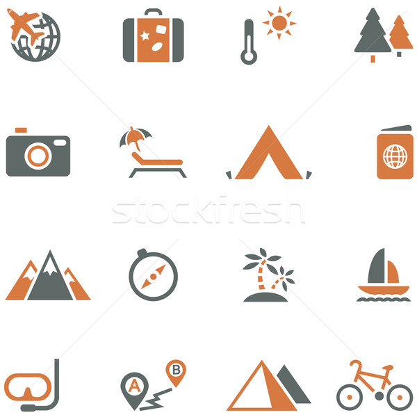 Travel and tourism icon set vector for design. Stock photo © borysshevchuk