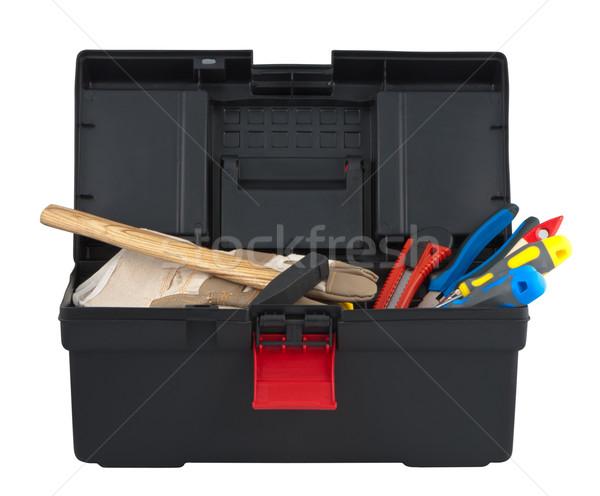 Tools in box isolated on white background. Stock photo © borysshevchuk