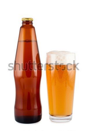 Beer in bottle with bottle opener and glass. Stock photo © borysshevchuk