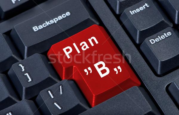Kırmızı düğme plan b büyük bilgisayar Stok fotoğraf © borysshevchuk