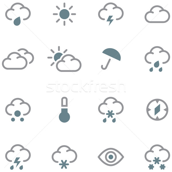 Weather forecast icons set. Stock photo © borysshevchuk