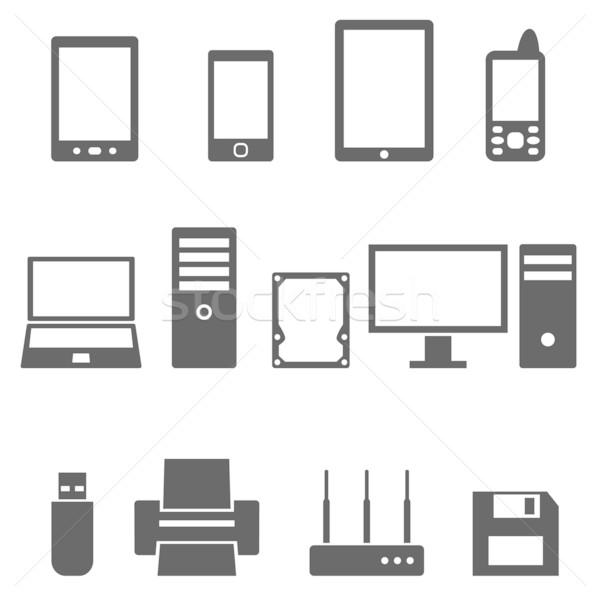 Iconos ordenador hardware vector diseno Foto stock © borysshevchuk