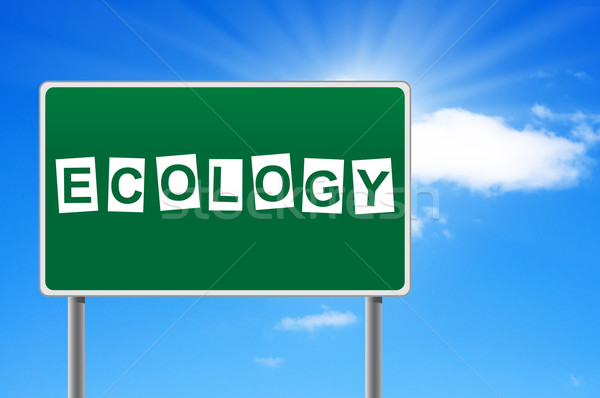 Road sign with word ecology. Stock photo © borysshevchuk