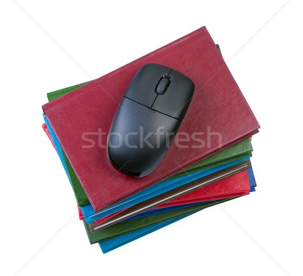 Компьютерная мышь книгах изолированный белый компьютер Сток-фото © borysshevchuk