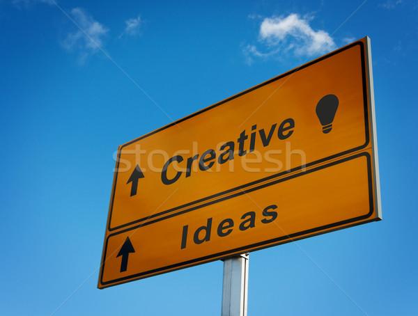 Placa sinalizadora criador idéias ícone lâmpada céu Foto stock © borysshevchuk