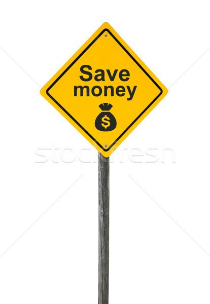 Tasarruf yol işareti simge dolar para Stok fotoğraf © borysshevchuk