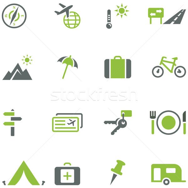 Collectie iconen reizen toerisme actief ontspanning Stockfoto © borysshevchuk