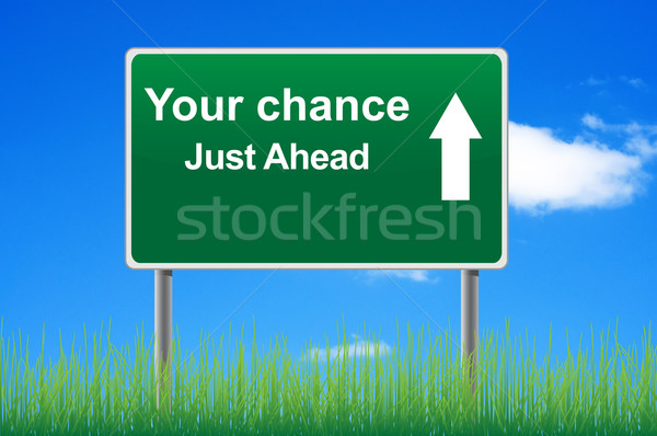 Your chance road sign on sky background, grass underneath. Stock photo © borysshevchuk
