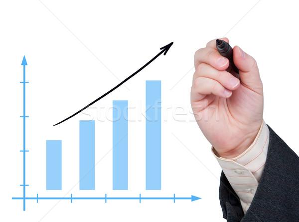 Crecimiento tabla pintado vidrio marcador diagrama Foto stock © borysshevchuk