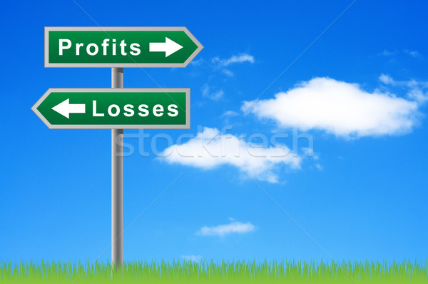 Arrows road sign profits losses on sky background. Stock photo © borysshevchuk
