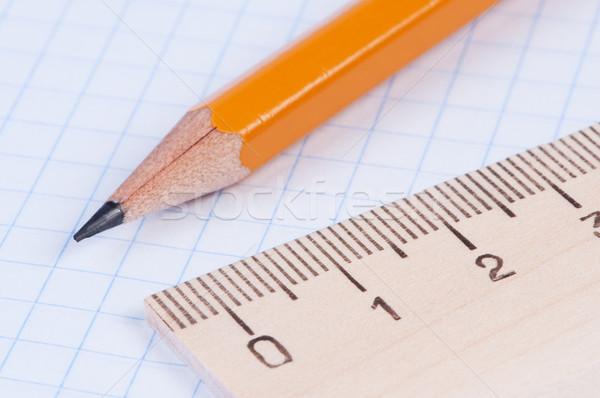 Pencil and ruler closeup. Stock photo © borysshevchuk