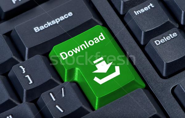 Botón descargar Internet resumen diseno tecnología Foto stock © borysshevchuk