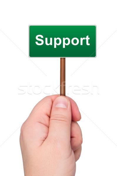 Stockfoto: Teken · woord · ondersteuning · geïsoleerd · witte