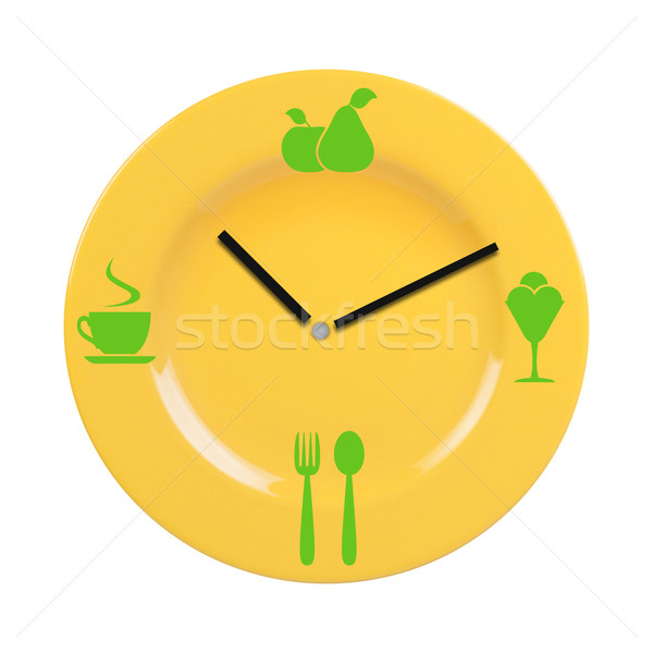 Plate with a dial and food icons. Stock photo © borysshevchuk