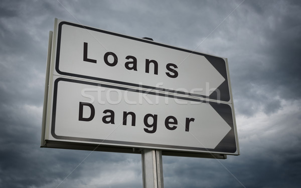 Loans, Danger road sign. Stock photo © borysshevchuk