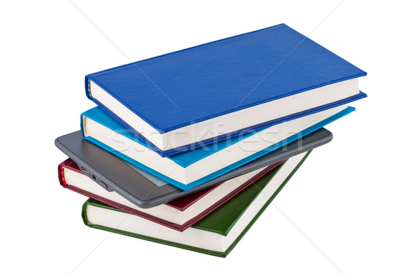 E-reader of the stack of books. Stock photo © borysshevchuk