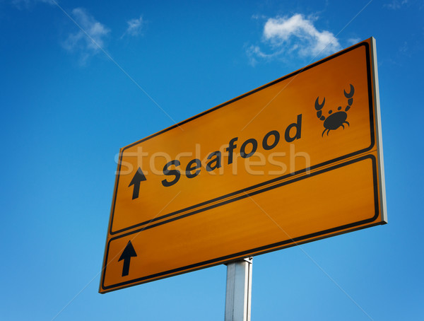 Foto stock: Mar · comida · placa · sinalizadora · ícone · caranguejo · lugar