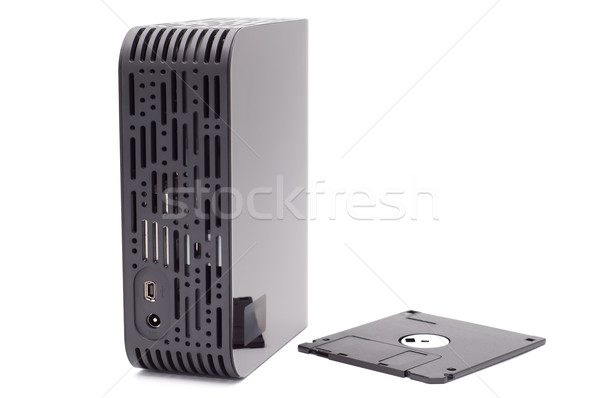 External hard disk and diskette. Stock photo © borysshevchuk