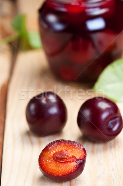 Plums on boards. Stock photo © borysshevchuk