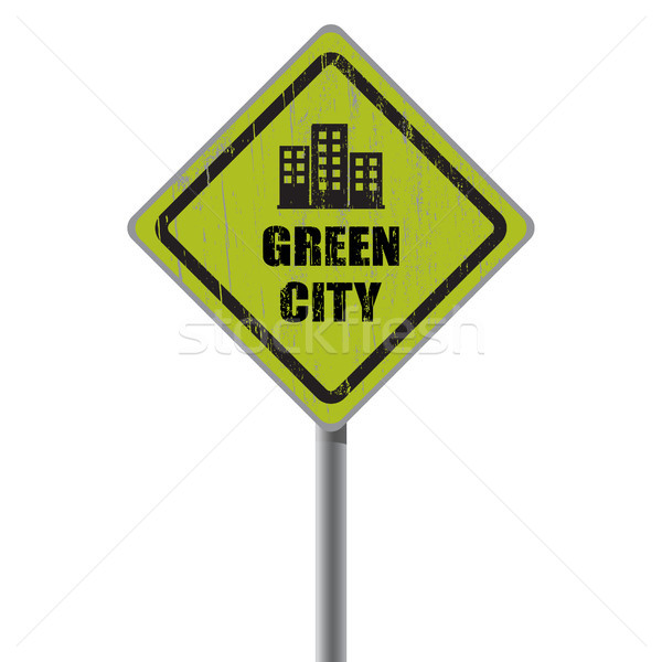 Green city road sign. Stock photo © borysshevchuk