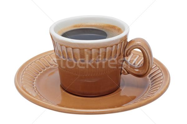 чашку кофе блюдце изолированный белый тень пить Сток-фото © borysshevchuk