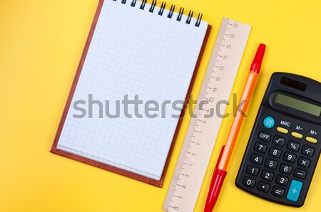 Stationery on yellow background. Stock photo © borysshevchuk