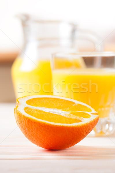Orangensaft Hälfte orange Glas Essen Küche Stock foto © borysshevchuk