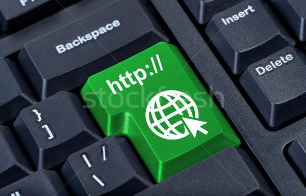 Stock fotó: Zöld · gomb · ikon · földgömb · internet · terv