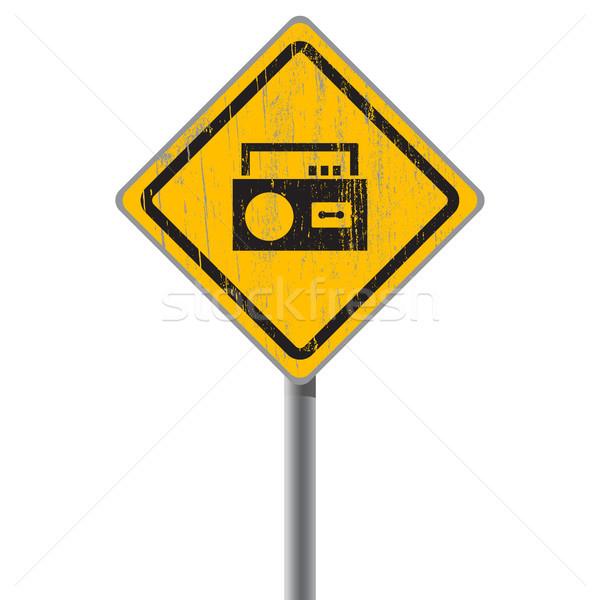 Oude haveloos Geel teken cassette Stockfoto © borysshevchuk