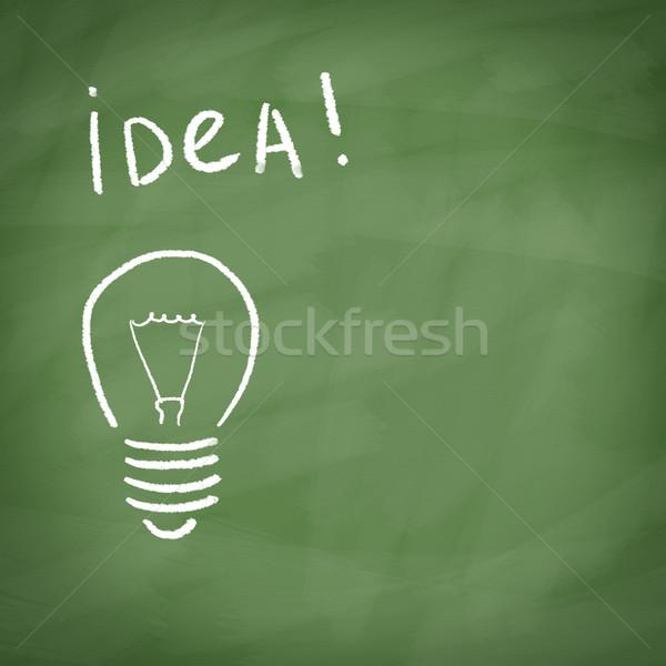 Lâmpada pintado giz lousa palavra idéia Foto stock © borysshevchuk